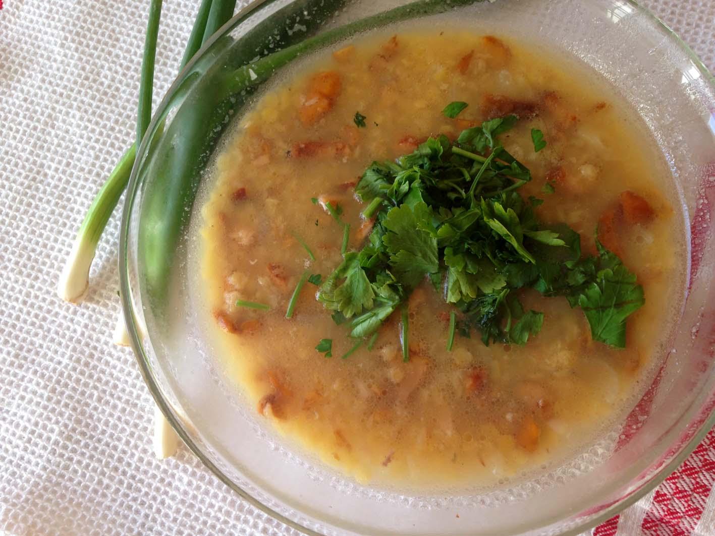 суп с лисичками и чечевицей